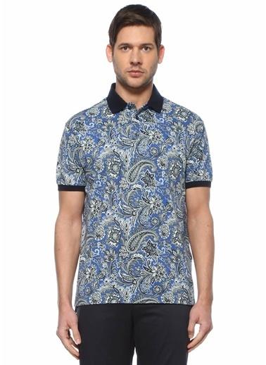Etro Etro   Şal Desenli Polo  Yaka T-shirt 101618024 Mavi